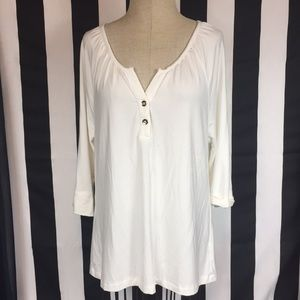 Tart 3/4 sleeve blouse gold buttons sz L off white